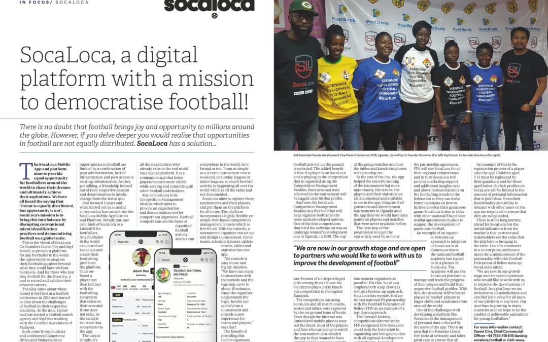 Grassroots Football: SocaLoca feature in UK Football Mag, FC Business
